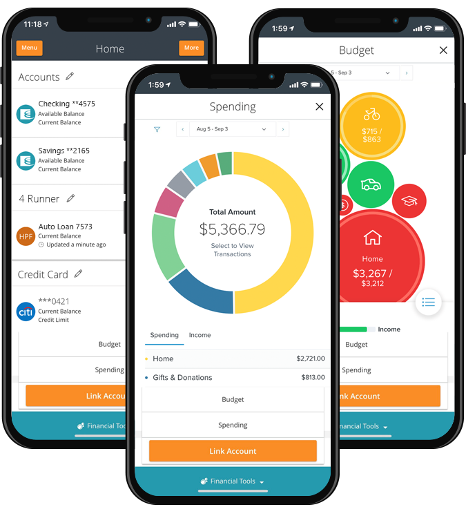 app view of accounts, spending and budgeting tabs