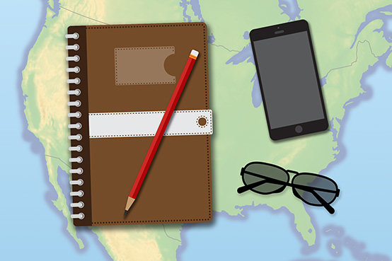 journal sunglasses and mobile phone